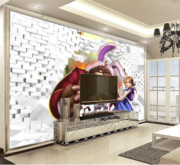 Özelleştirilmiş Promosyon 3d Duvar kağıdı Duvar Aracılığıyla Karikatür Hayvan Ve Güzel Kız Güzel Pratik Dekoratif Duvar Kağıdı