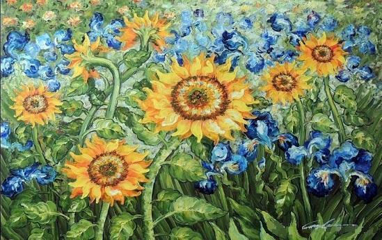 Van Gogh &Golden Sunflower Blue Iris Garden,High Quality Handpainted &HD Print Still Life floral Wall Art oil painting On Canvas Multi sizes