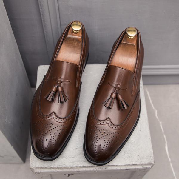 Модная мужская обувь Повседневная классическая кисточка Brogue Mans Обувь Дизайн кожаная обувь Мужчины Формальный волк Большой размер HV-005