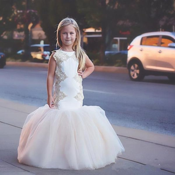 2020 Mermaid Lace Arabic Flower Girl Dresses Crew Tulle Sexy Child Wedding Dresses Vintage Little Girl Pageant Dresses