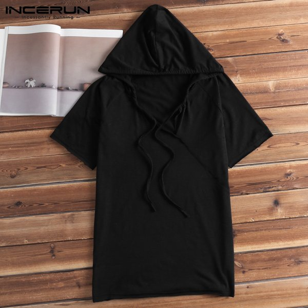 Stylish Mens Hoodies Short Sleeve Sweatshirts Sexy V Neck White Summer Muscle Tee Joggers Gym Hiphop Hooded 5XL Hombre Clothing
