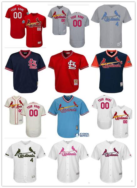 custom Women's women youth St. Louis Cardinals Jersey # 00 Qualunque sia il tuo nome e il tuo numero Rosso Grigio Bianco Maglie da baseball