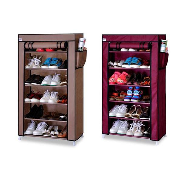 Sapatos não tecidos Rack Organizador Prateleira 6-Tier Shoe Torre Prateleira Gabinete De Armazenamento Sapateira Gabinete Sapateira Loja de até 24