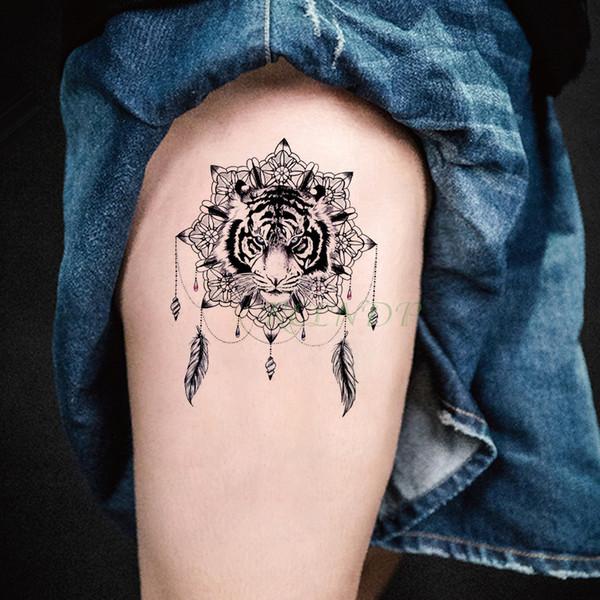 Tatuaje Temporal A Prueba De Agua Pegatinas Tigre Animal Pluma Flor Concha Tatuajes Falso Tatuaje Flash Tatuaje Para Niña Mujer Hombre Niño Por