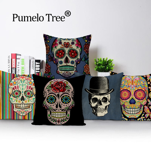 Cool Colorful Square Pillow Cover Sugar Skull Decor Living Room Customized Cushion Linen Print Car Seat Cover Custom Cushion Cover 24X24 Outdoor Cushion Evergreenethics Interior Chair Design Evergreenethicsorg