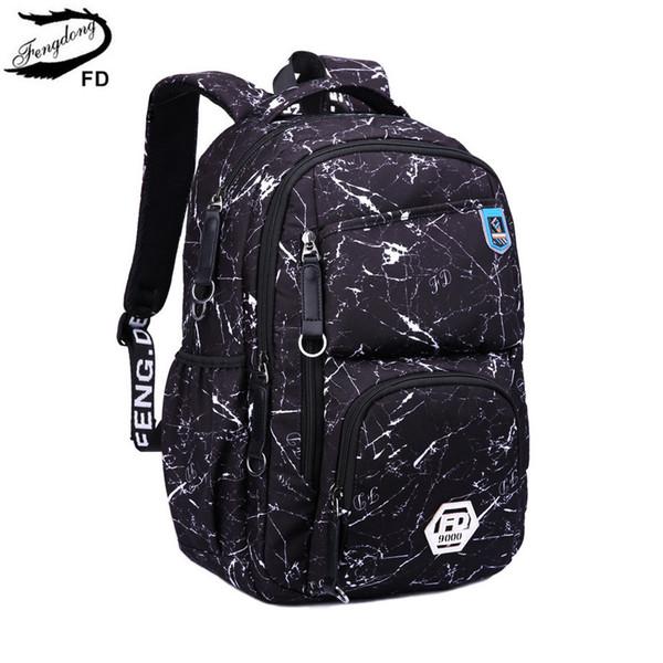 FengDong new 2018 fashion school backpack boys school bags for kids waterproof fabric children backpacks men laptop computer bag