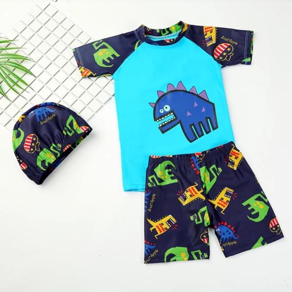 Шапочка для плавания футболка шорты мультфильм 3 шт. Большой мальчик сплит купальник детские купальники детский купальный костюм детский купальный костюм комплект с кепкой
