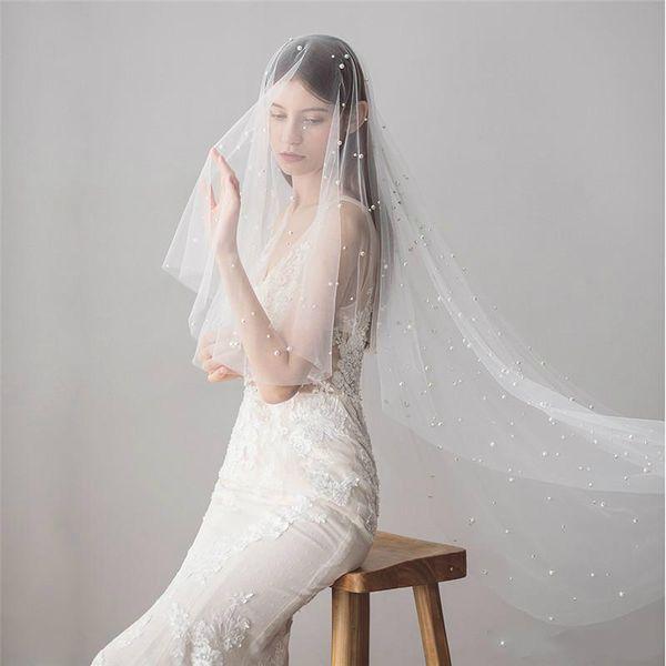 Ivory Beaded Pearls Wedding Veils Long Bridal Veil with Comb Wedding Accessories Bride Mantilla Wedding Veil