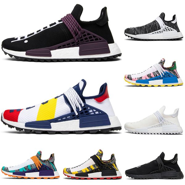 human race hu trail pharrell williams men running shoes creme nerd black white bbc mens trainer women designer sports runner sneakers 36-45