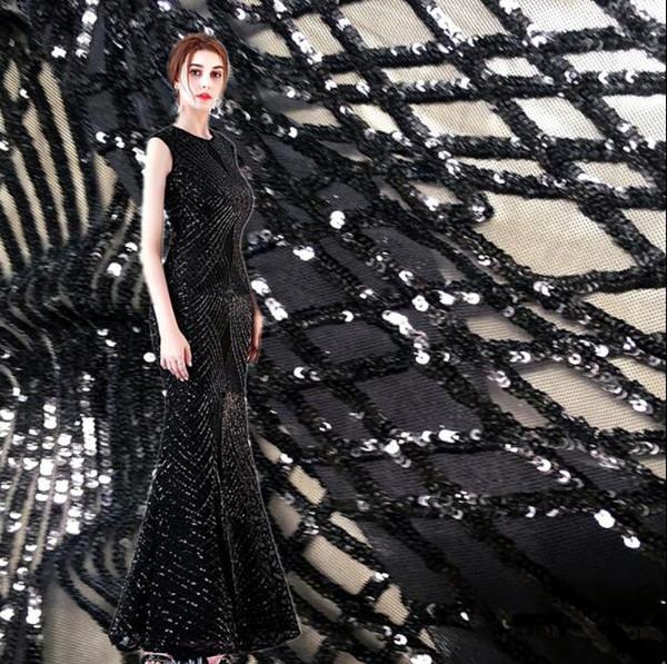 90 * 130 см черный стрейч вышитые сетки блестками платье ткань поделки домашний текстиль свадебная ткань вышитые лазерные сексуальные ткани C586