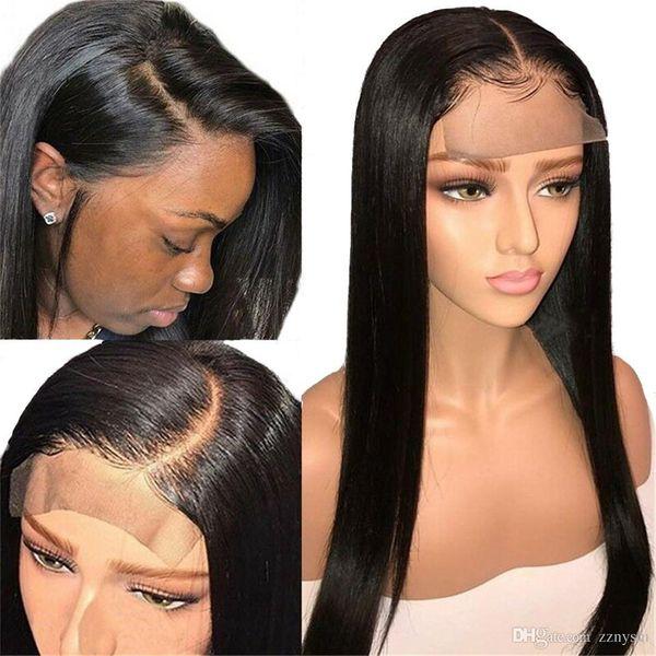 Peluca brasileña 4 * 4 Cierre recto de encaje Peluca Frente de encaje Pelucas de cabello humano Pre-Plucked with + wig Net