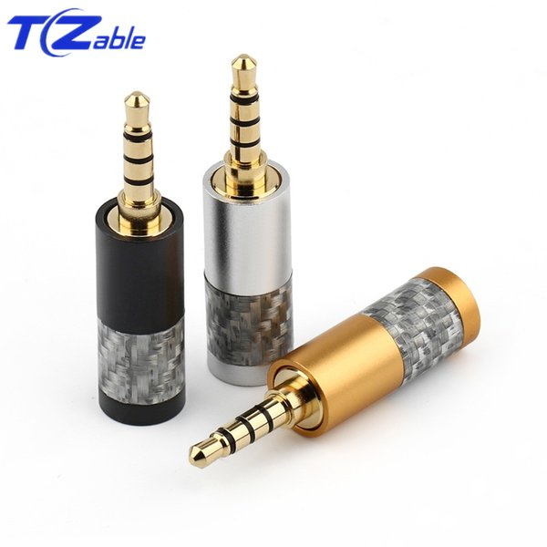 3.5mm Audio Connector 3/4 Pole Stereo Headset Carbon Fiber Gold Plated Hifi Plug Headphone Jack Solder Mini 3.5 Male Adapter