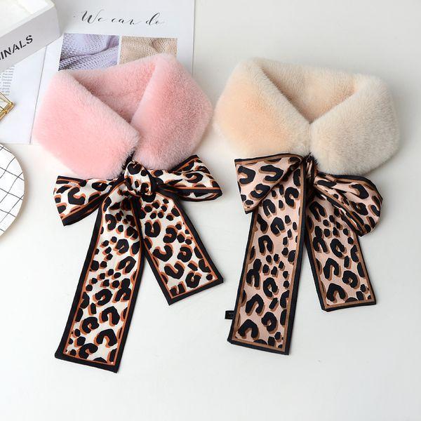 Winter Women Faux Fur Plush Collar Scarf Wrap Neck Warmer Leopard Print women's fashion scarves