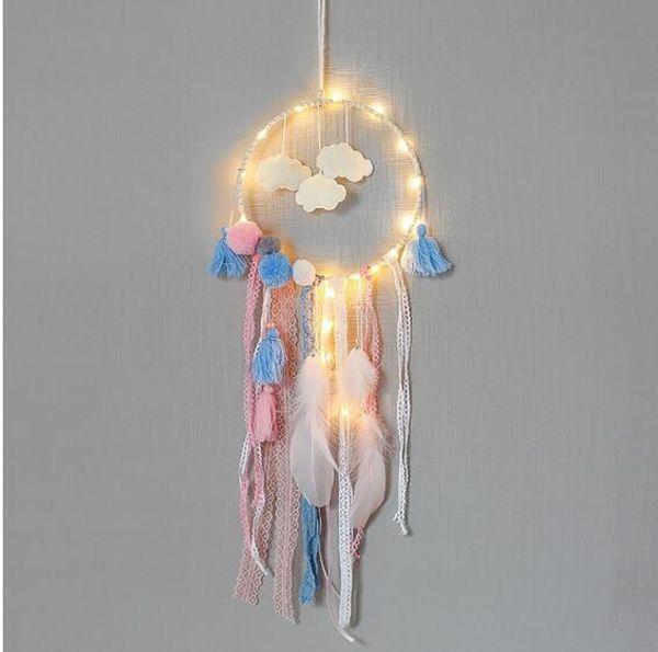 Feder handgefertigt Dream Catcher indischen Stil Handwerk gewebt Wandbehang Dekoration weiß Dreamcatcher Hochzeit hängenden Dekorationen GA710