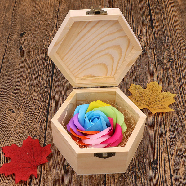 Rose Soaps Flower Packed Wedding Supplies Gifts Event Party Goods Favor Toilet Soap Scented Bathroom Accessories with Wooden Box