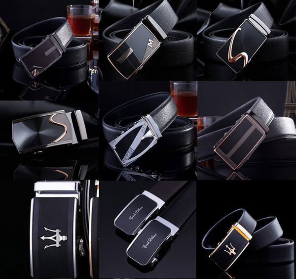 best selling First Layer cowhide leather mens designer Belts automatic Buckle belts for men Genuine leather Men's business belts 62 styles DHL free