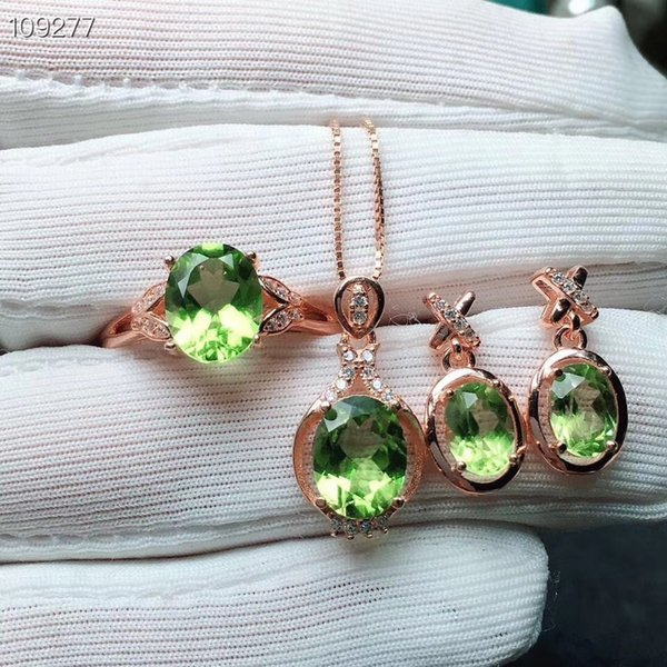 Fashion across Natural green peridot gem Ring Pendant earrings Natural Gemstone Jewelry Set 925 Silver Women party gift jewelry