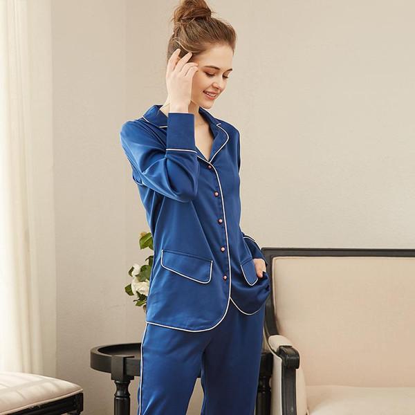 Setleri Stil Kadınlar Uzun Pijama Takım Ev Kadın Kadın Pijama Uyku Salonu Seksi moda ev tekstili Saten Pijama Uzun kollu