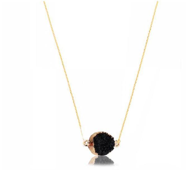 Natural Druzy Quartz Clusters Geode Stone Gem Healing Reiki Pendant Necklace