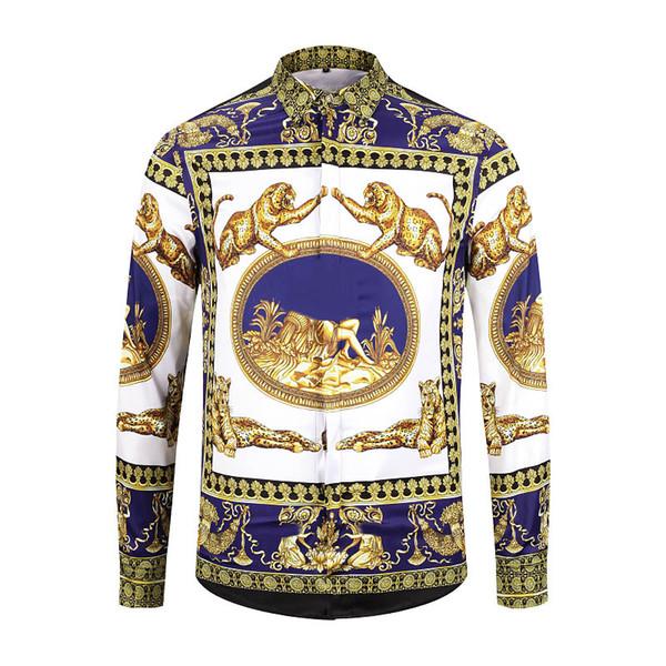 First-class quality 2019 men's 3D flowers tiger print mixed color luxury casual Harajuku shirt long-sleeved men's Medusa shirt M-2XL