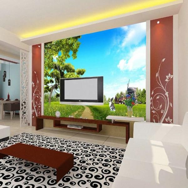 Блюдо китайский бесшовные большой настенной росписи фон ТВ стены гостиной диван обои, природные пейзажи, деревья, голубое небо