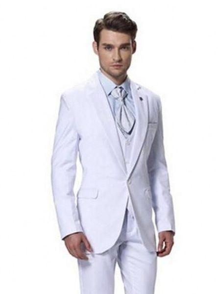 Classic Design White Groom Tuxedos Notch Lapel Side Vent Groomsmen Mens Wedding Suits Popular Man Blazer Suits(Jacket+Pants+Vest+Tie) 719