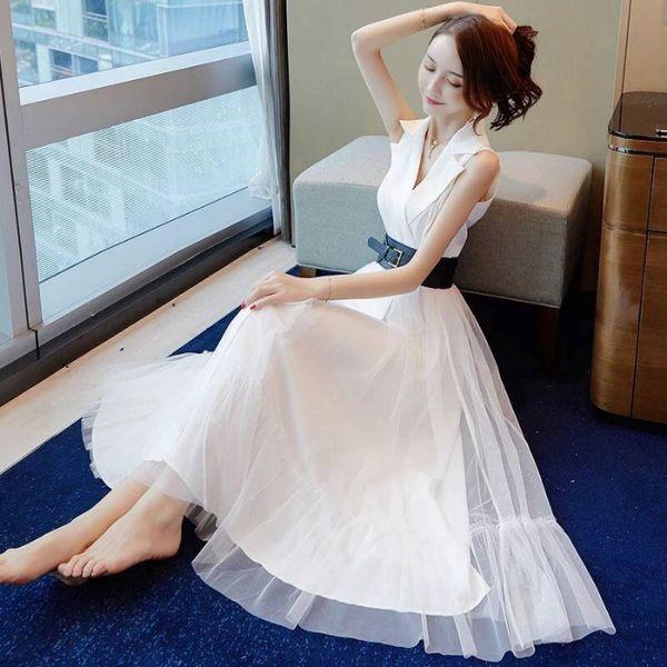 Mesh suit dress Summer 2019 new fashion skirt fashion slim professional temperament slender white long skirt