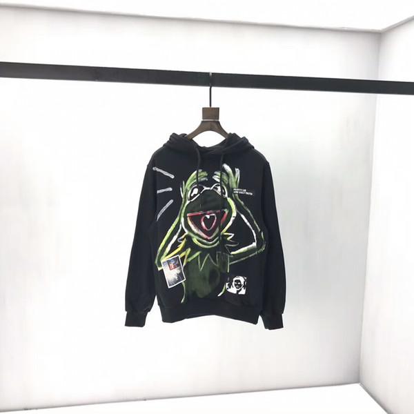 Женские толстовки свободные мужские толстовки хлопок лягушки письмо печать с капюшоном свитер студенческой молодежи sweatshirts2019 новый qq1