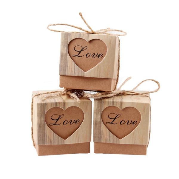 Vintage Kraft Kağıt Hollow Out Aşk Kalp Favor Hediye Kutusu Düğün Doğum Günü Partisi El Yapımı Sabun Takı Şeker Sarma Ambalaj Kutuları
