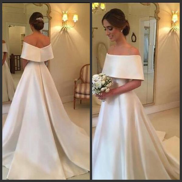 Modern Elegant Wedding Dresses Off Shoulder Zipper Back Vestodis de Novia Short Sleeves Sweep Train White Formal Wedding Gowns Custom Made