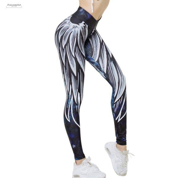 Harajuku 3D Spandex Legging Flügel Leggings für Frauen Push Up Sporting Fitness Sexy Freizeitsport Bodybuilding Damen-Hosen