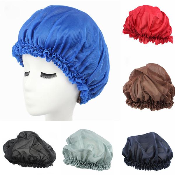 New Arrival Long Hair Care Women Fashion Satin Bonnet Cap Night Sleep Hat Silk Cap Head Wrap messy bun beanie Dropshipping #L20