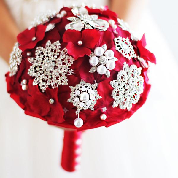 Iffo buquê de noiva casamento, buquê de noiva, casamento segurando buquê com vermelho, azul, roxo segurando flores, perfeito para a igreja do casamento