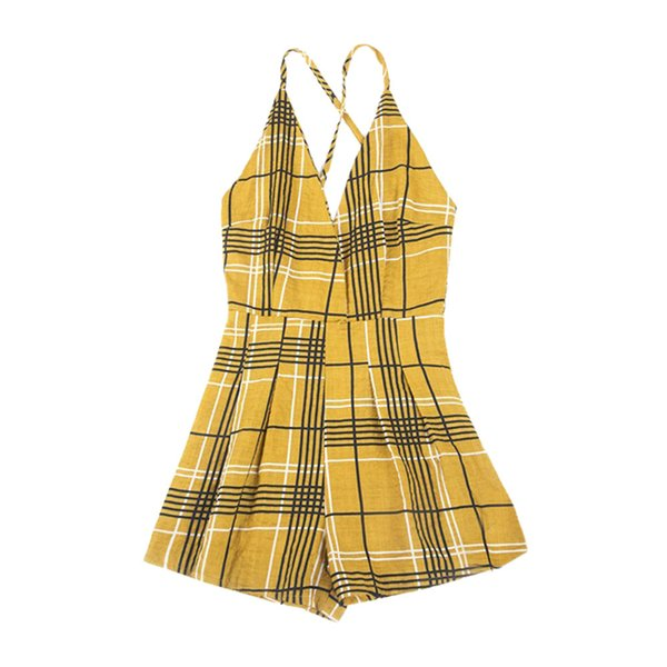 Summer Women Casual Playsuit Shorts Elegant Ladies Boho Plaid Printed Jumpsuits Beach Style Womens Sexy V-Neck Rompers #Ni