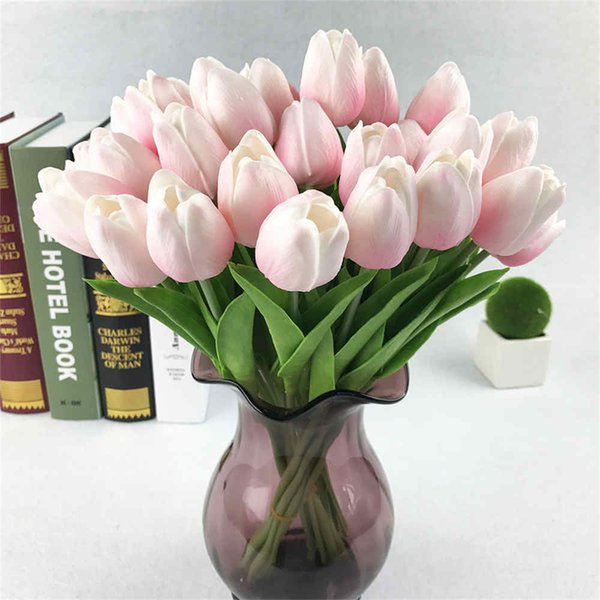 20pcs Tulip Artificial Flower Latex Real Bridal Wedding Bouquet Home Decor hot sale artificial flowers blumen dekoration