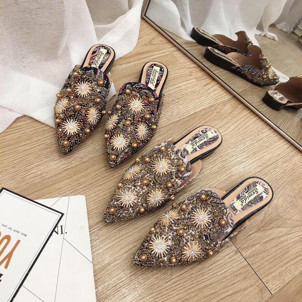 Kristal Perçin Kadınlar Kapalı Toe Terlik Dışında Düz Düz Slaytlar Ile Moda Eğlence Kadın Ayakkabı