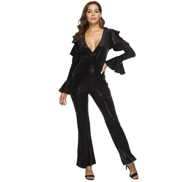 ventes spéciales achats vraiment à l'aise 2019 MUXU Glitter Black Sequin Jumpsuit Bodysuit Women Rompers Womens  Jumpsuits Body Femme Combinaison Femme Party V Neck Playsuits From  Cutelove66, ...