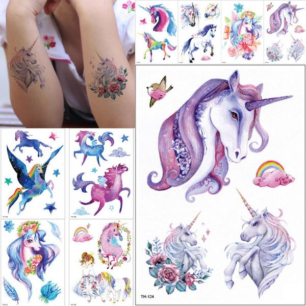 Neue Cartoon Blue Unicorn Märchen Temporäre Tätowierung Für Kinder Kinder Wasserdicht Flash Tattoo Aufkleber Mädchen Baby Body Art Pferd T190628