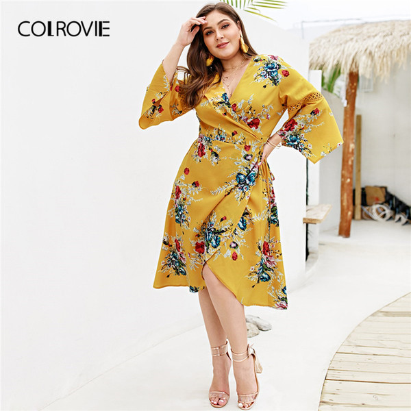 e7f53aac86880 2019 Colrovie Plus Size Ginger Wrap Tie Side Floral Print Boho Dress Women  Spring Long Sleeve High Waist Midi Ladies Dresses Q190521 From Yiwang01, ...