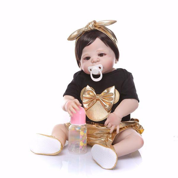 Bebe Reborn 2018 New design golden Doll Full Silicone Body Lifelike Reborn Doll Handmade princess Baby Toy hot sale Xmas Gifts