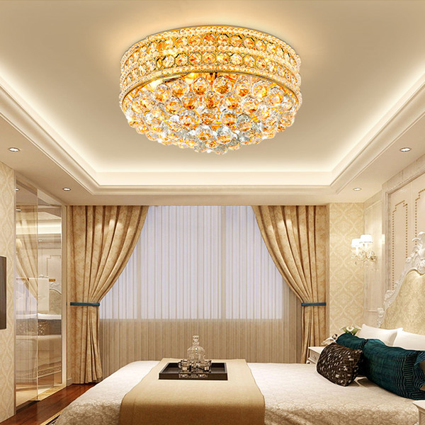 Modern Crystal Round Ceiling Chandelier Lights Gold Luxurious Crystal  Chandeliers Lamps Flush Mount Led Ceiling Lighting For Bedroom Foyer Small  ...