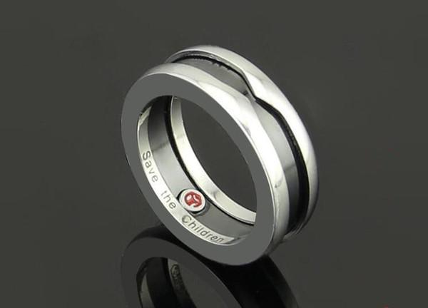 Европа и Соединенные Штаты моды Благотворительность издание Little Red Man керамическое кольцо Arc Версия Пять групп маркировочного титана стальное кольцо