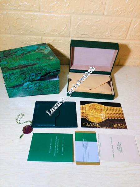 Orologio di lusso SCATOLE per orologi Rolex Mens di marca verde originale vera scatola regalo di legno in forma Rolex 116610 116660 Scatola per orologio