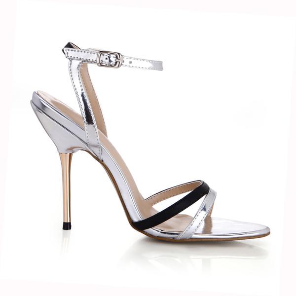 2019 серебряные женские сандалии 2017 ну вечеринку обувь металлический каблук Chaussures Femme Zapatos Mujer Sapatos Femininos De Salto обувь реального изображения