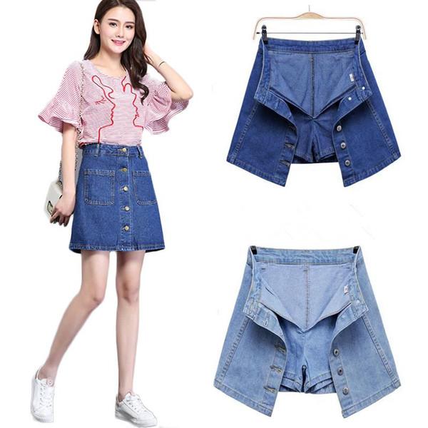 ELEXS mit hohen Taille A-Linie Denim Minirock Frauen-Sommer-Single Button Taschen Blau Jean-Rock-Stil Saia Jeans