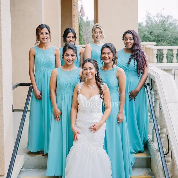 Light Blue Beach Abiti da sposa 2019 Lungo Bohemian Piano Lunghezza Chiffon Economici Wedding Guest Party Abiti Maid Of Honor Dress Personalizzato