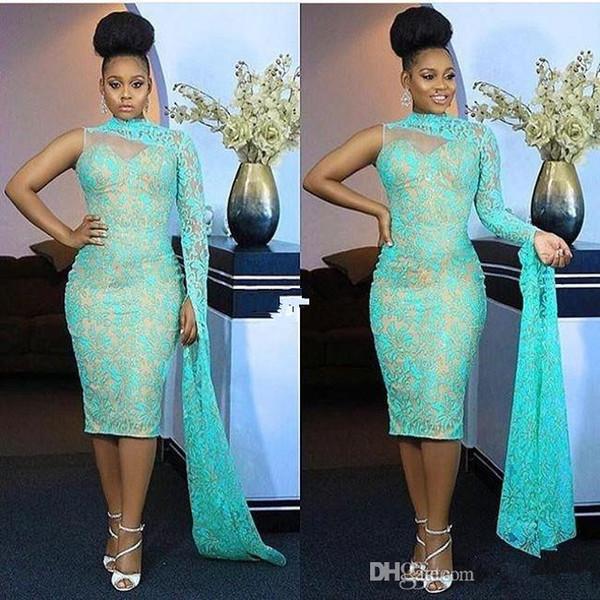 Neue Schulter Nigeria Stil Abendkleider High Neck Lace Tee Länge Meerjungfrau Formelle Ballkleider Aso Ebi Style Party Kleid