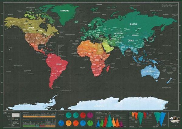 Rasguño directo de fábrica del mapa del mundo negro para la decoración del hogar arte de la pared artesanía cartel vintage viaje mapa del rasguño océano