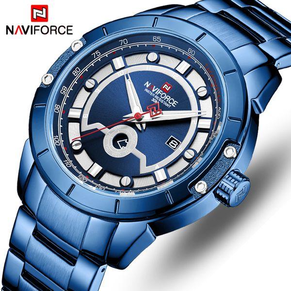 NAVIFORCE Top Marca Men Quartz Calendário Relógios Moda Azul Mens Sport Watch Casual Negócios Relógio de pulso Relogio Masculino