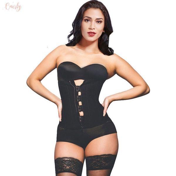 Gancho de la cremallera de látex de caucho de la cintura del lunar Trainer Tops Bustiers Cinturilla corsé atractivo para adelgazar Mujeres Fajas